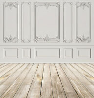 White Wall Carving & Wooden Floor Indoor Photography Background Studio Backdrop
