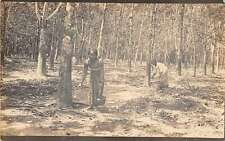 Medan Indonesia Rubber Trees Collecting Real Photo Antique Postcard J45330