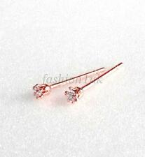 New Rose Gold Plated Studs Earrings CZ Cubic Zirconia 2mm Unisex Trainer Tiny