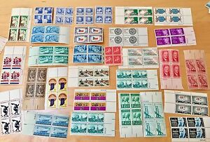 30  DIFFERENT 5 CENT UNUSED BLOCKS OF FOUR US STAMPS LOT 1