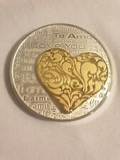 "Silver coin "" I Love You ""with .24 gold plated heart. From Casa De Moneda Mexico"
