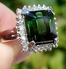 VVS Rich Green Tourmaline Diamond 14k white gold halo ring