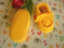 Yellow baby booties. Handmade. Crocheted. Leather soles. 6-9 months. New