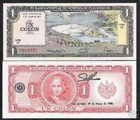 EL SALVADOR 1 COLON P-125 A 1977 x 1 DAM UNC Columbus Pre USD Money BILL NOTE