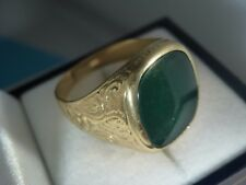 18k 18ct Solid Gold Big Signet Ring. Green Chrysophrase. Damaged. Size W 11.58g