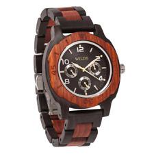 Wilds Wood Men's Multi-Function Custom Rose Ebony Wooden Watch