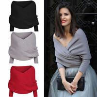 Womens Long Sleeve Knitted Cardigan Loose Sweater Outwear Coat Warm Sweater Top