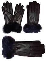 Women's gloves Fur Trimmed leather gloves Size xl Brown new Warm Winter Gloves
