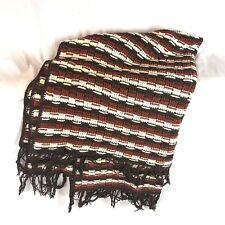 "Hand Knit Afghan Blanket Throw Browns hippie boho 68"" X 42"""