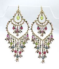 GORGEOUS NEW Artisanal Purple Olive Blue Multi Crystals Gold Chandelier Earrings
