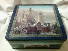 """Vintage Delacre Cookie Tin with pictures of Europe Castles 8 1/2"""" x 9""""x 4"""""""