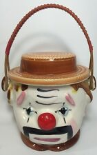"Vintage Clown Cookie Biscuit Jar With Rattan Handle ""Straw Hat"" Japan 10052"