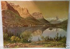 PINTURA DE PAISAJE LAGO Montaña Cuadro 50x40 Impresión sobre MDF montañas