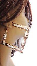 LARGE HOOP EARRINGS SQUARE BAMBOO HOOP EARRINGS 4 INCH HOOPS GOLD OR SILVER TONE
