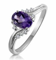 Amethyst Ring Diamond Engagement White Gold Solitaire Cluster Dress Appraisal