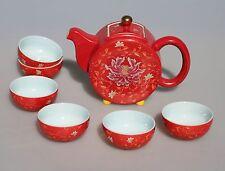 Fine Porcelain Kung Fu(Gong Fu)Tea Set Relief Red Peony Gold Dishwasher Safe