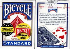 Stripper Deck Blue Bicycle Playing Cards Classic Card Magic Trick & Instructions