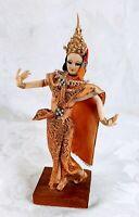 Thai Dancer Doll Wood Gold Costume Handmade Art Figurine