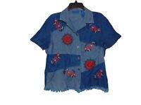 Karen Scott Sport Floral Themed Denim Shirt Medium Women Short Sleeve