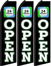 Open 24 hrs Standard Size Swooper Flag banner sign pk of 3
