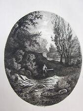 1864 LA FONTE Ferdinando Di Breme acquaforte originale d'epoca