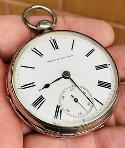 A GENTS GOOD EARLY ANTIQUE SOLID SILVER WALTHAM P.S.BARTLETT POCKET WATCH 1881..