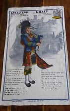 Vtg cotton linen tea towel Amazing Grace Royal Scots Dragoon Lamont