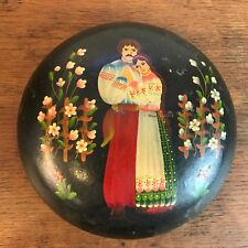 "Vintage Russian Hand Painted Lacquer Round Box Young Couple in Love 7"" HD1"