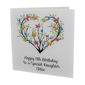 PERSONALISED Butterfly Heart FEMALE Relation BIRTHDAY CARD 18th 21st 30th