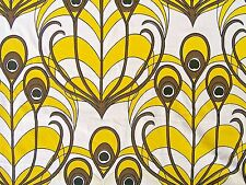 "Vintage Curtain Fabric Yellow Mod 60s JUDSCOTT ""Plumes"" Peacock BTY Palm Springs"