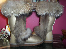 MAVEISER GORGEOUS gold leather w/genuine racoon fur trim sheepskin lined 38(7)