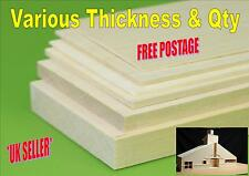 Balsa wood sheet 150mm x 75mm various thickness 0.8mm to 12.5mm multi choice