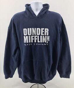 Dunder Mifflin Paper Company The Office Hoodie Sweatshirt Adult Size XL Blue