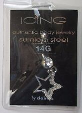 dd dangle crystal star curved barbell surgical steel 14g BELLY RING body jewelry