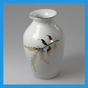 vintage Germany Porcelain China White Gold Mantel Table Shelf Desk Flower Vase