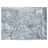 London City England Navy Map Wall Art Canvas Print 18X24 In
