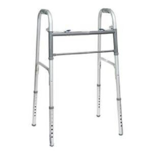 PMI Economy Two-Button Steel Adult Walker Folding without Wheels 350 lb Capacity