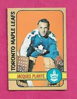 1972-73 OPC # 92 LEAFS JACQUES PLANTE GOALIE GOOD CARD (INV# C4758)