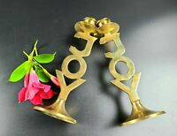 """Vintage Solid Brass """"JOY"""" Candlestick Holder Pair - Made in India"""