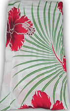"""HAWAIIAN BOUTIQUE White Red HIBISCUS Sarong  NWT PLUS SIZE 96""""x44"""""""