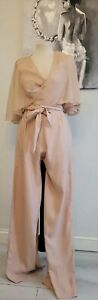 Womens nude zara backless jumpsuit with sheer cape size s