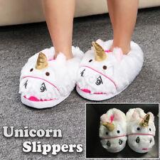 Ladies Womens Girls Novelty 3D Character Plush Unicorn Shoe Animal Slippers Home