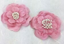 2 Satin and Organza Layered Flowers with Pearl Stamen Centres 6.5 cm Dusky Pink