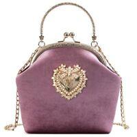 Women's Evening Bag Velvet Pearl Vintage Velour Heart Design Party Clutch Purse