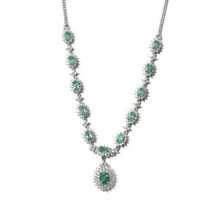 """925 Sterling Silver Emerald Necklace Platinum Over Jewelry Gift Size 18"""" Ct 6.7"""
