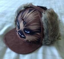 Boys Star Wars Chewbacca Trapper Snapback Cap/Hat ~ Brown Suede Effect ~ 3-6 Yrs