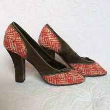 MIU MIU Peep Toe Heels Pumps Nubuck / Suede Leather & Tweed | Size: UK 4 / EU 37