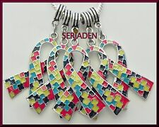 5 Large Autism Awareness Ribbon Fits European Jewelry 26 * 39 & 5 mm Hole   S116