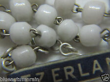 """† VINTAGE MADE IN """"SWIZTERLAND"""" PRESSED MILK WHITE GLASS ROSARY FOR CHARITY †"""