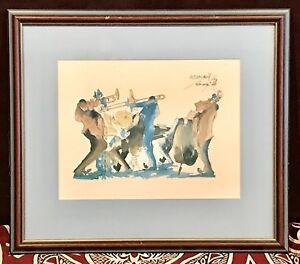 Vintage Antique Signed Weismann 76 New Orlean Jazz Print Art Drawing Framed